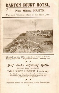 Barton Court Hotel advert c 1910