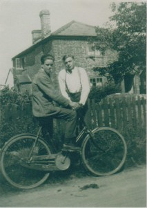 Haywards Farm Old Milton Road George Whitcher left and Fred Legg right.