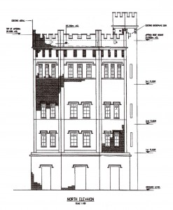 Plan of Water Tower side elevation