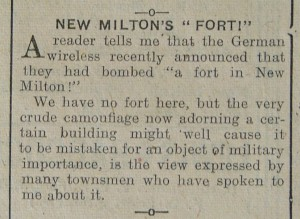 September 1942 report in A and T re German bombing of a fort in New Milton