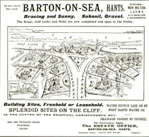 Barton on Sea Advert 1904